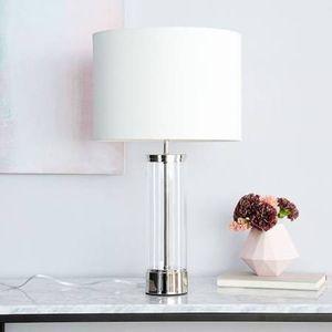 West Elm Acrylic Column Table Lamp + USB, Antique Brass for Sale in Falls Church, VA