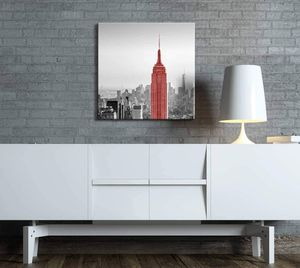 ((Free Shipping)) Black and White Photograph of New York with a Pop of Red on The Empire State Building - Canvas Art Home Decor Painting like print for Sale in PORT WENTWRTH, GA