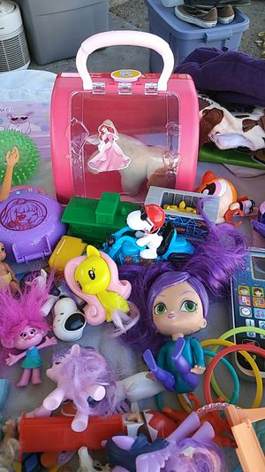 Huge lot of girls toys barbies little live pet carrier Jenna bangles snoopy trolls cellphones pretend for Sale in Norwalk, CA