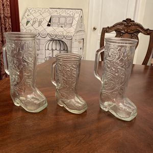 Three Vintage Cowboy Boots Glasses for Sale in Zephyrhills, FL
