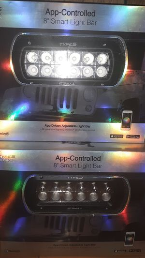"Pair of 8"" lightbars app controlled with spot/flood and 49 color for Sale in San Angelo, TX"