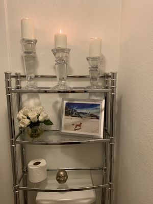 Bathroom shelving metal and glass for Sale in Newport Beach, CA