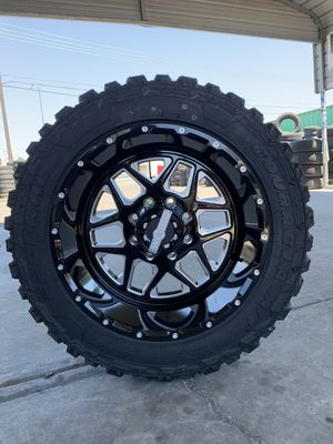 20x12 8x165.1 new rims and mud tires 33125020 Chevy gmc Dodge Duramax Cummins for Sale in Modesto, CA