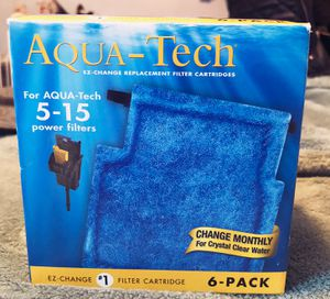 6 pack Aqua-Tech tank 5-15 gallon tank filters for Sale in Beverly, MA