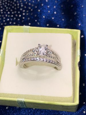 Wedding ring set solid sterling silver 925 for Sale in Visalia, CA