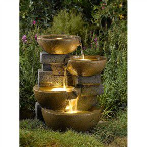 Indoor / Outdoor 4-Tier Pots Water Fountain with LED Lights for Sale in Fresno, CA