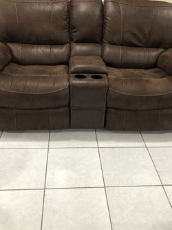 2 Seater Brown Suede Couch, Perfect Condition for Sale in Tampa,  FL