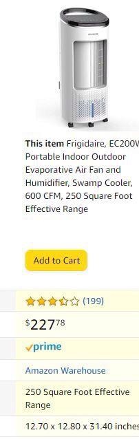 Frigidaire EC200WF evaporative air cooler and tower fan *NEW* for Sale in Sacramento, CA