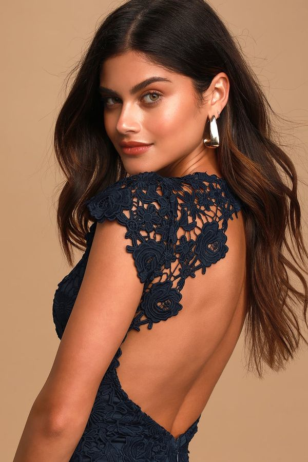 Navy Blue Backless Lace Dress: Sizes Small & Medium