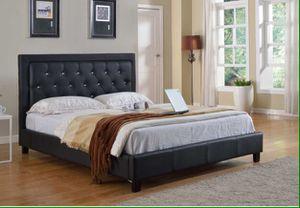 Black PU Platform Bed - E/KING for Sale in Pomona, CA