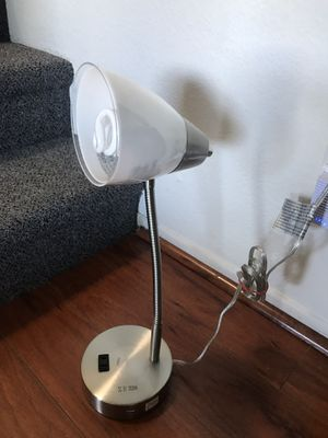 Silver Desk Lamp with power and usb outlet for Sale in Santa Monica, CA