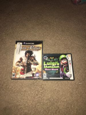 Prince of Persia the two thrones for the game cube and Luigi's mansion dark moon of the 3ds for Sale in Citrus Heights, CA