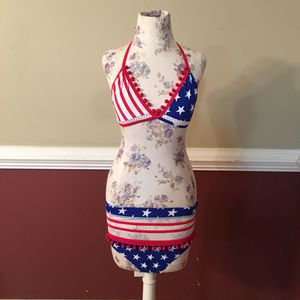 2 piece flag bathing suit with high waisted bottoms for Sale in Mount Ulla, NC