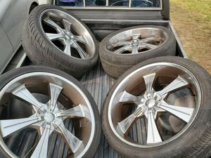 """24"""" rims and tires good condition universal fits 6 lugs $450 for Sale in Cerritos, CA"""