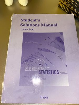 Student's Solutions Manual for Elementary Statistics for Sale in San Antonio, TX