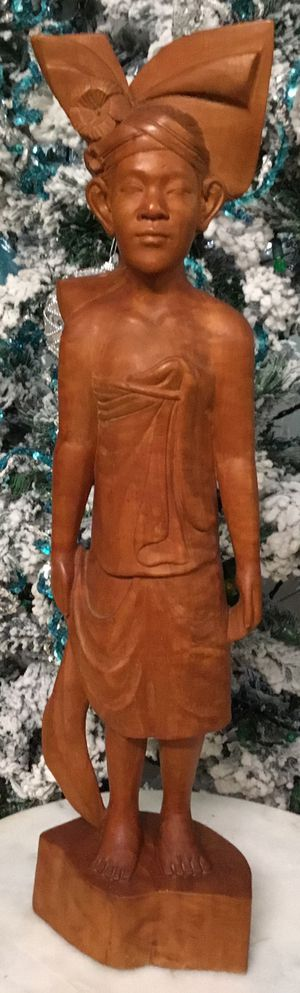 Vintage Handcrafted Collectible Wood Carved Rosewood Bali Man Statue. for Sale in Tampa, FL