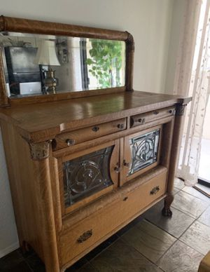 Antique Stain Glass with Mirror Dresser for Sale in Phoenix, AZ
