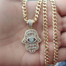 HAMSA 14k Gold finish Fully Icedout Pendant With Cuban Chain for Sale in Los Angeles,  CA