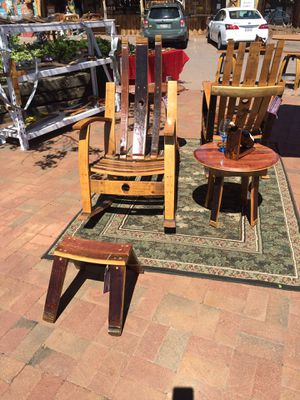 Wine barrel furniture rocking chair table ottoman wine holder for Sale in Payson, AZ