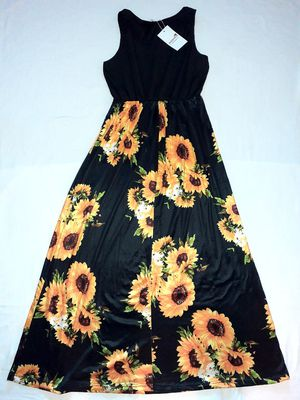 Medium Black Sleeveless SunflowerDress WomenLa Hiebla Women Boho Floral Long Maxi Dress Party Evening Summer Beach, Women's for Sale in Indio, CA