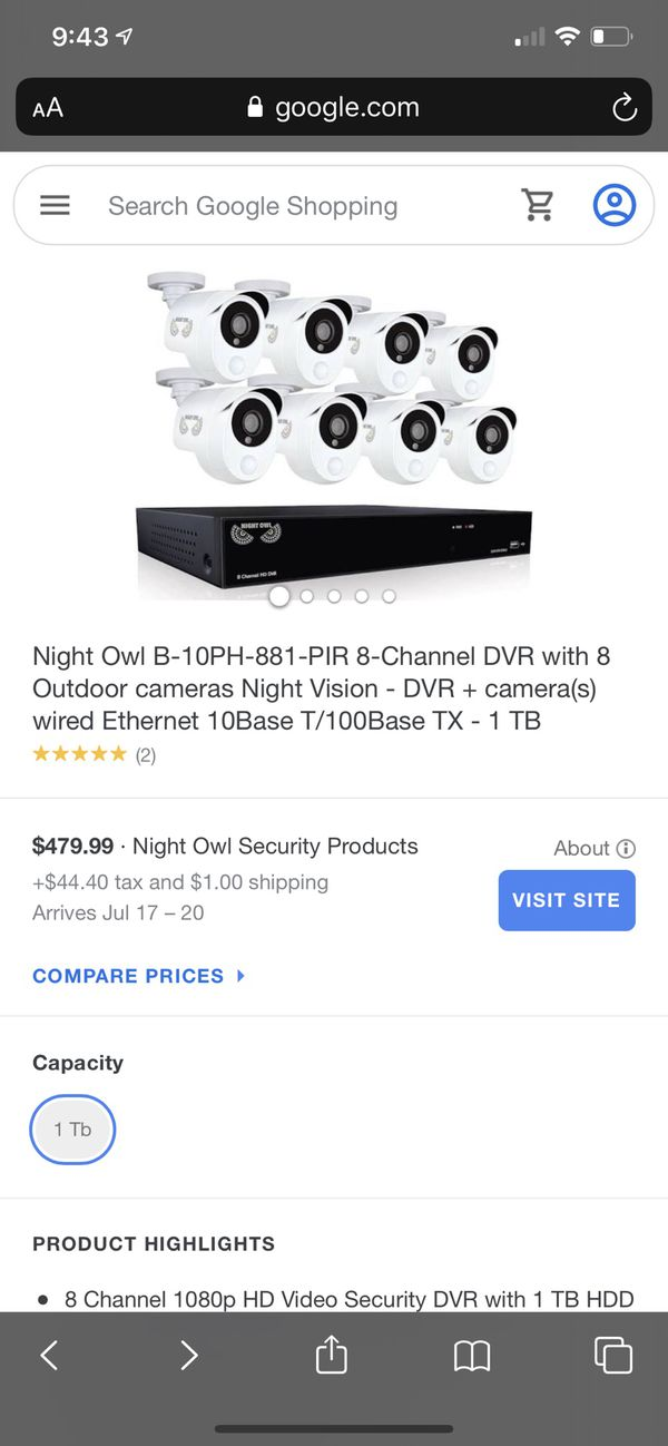 Night Owl 1080p HD Video Security DVR with heat based motion detection 8 channel DVR with 8 wired infrared cameras