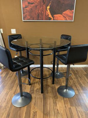 High Top, Bar Hight, Pub Hight, Glass Table. Stools not included. for Sale in Las Vegas, NV