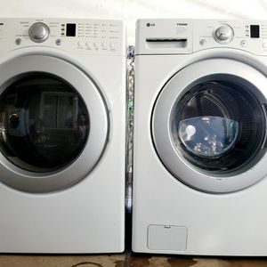 LG Tromm 3.6cuf 5 Wash Programs Washer and 7cuf 5 Dry Programs 110v Gas Dryer Both With Silver Rimmed Doors for Sale in Oceanside, CA
