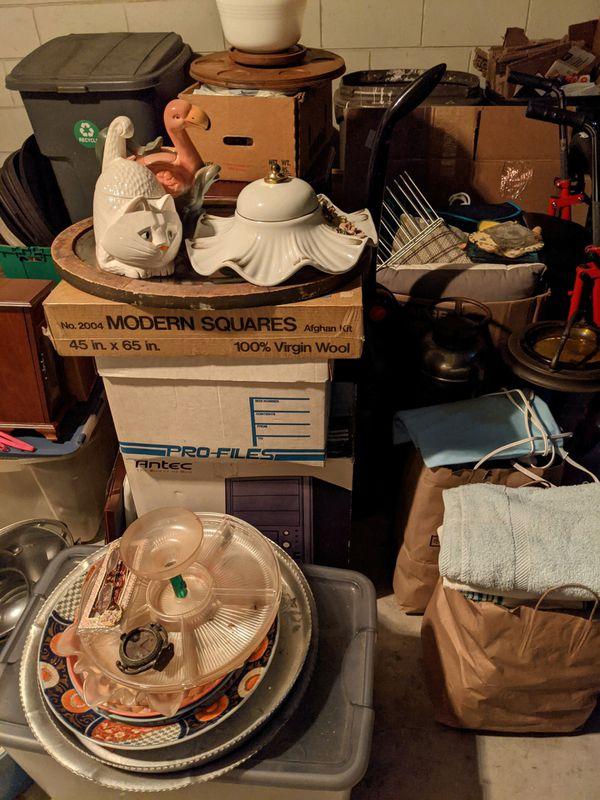 Free housewares, glass, bowls, towels, vacuum