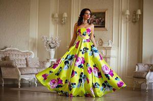 Yellow evening dress satin for Sale in Nashville, TN