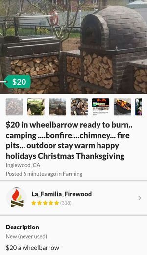 Firewood for sale camping bumper chimney s'mores Glamis Yellowstone Yosemite Fish Camp Kern County s'mores for Sale in Inglewood, CA
