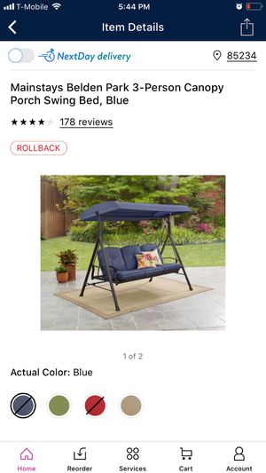 Mainstays Belden Park 3-Person Canopy Porch Swing Bed - Blue for Sale in Glendale, AZ