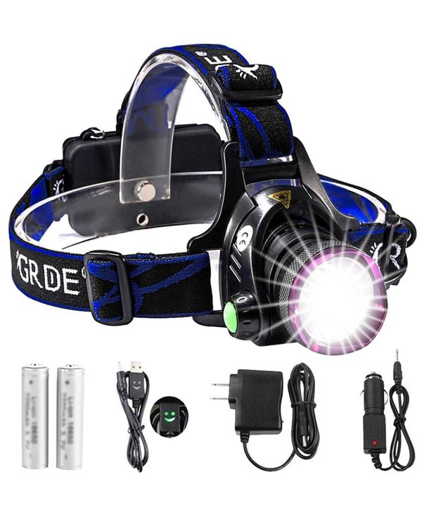 Headlamp, Zoomable Brightest High LED Work Headlight 3 Modes with Rechargeable Batteries Flashlight, USB Cable for Camping, Hiking, Outdoors (Purple)