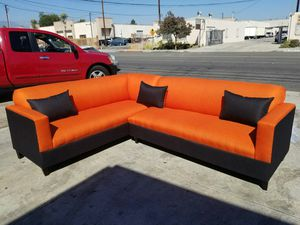 NEW 7X9FT CASSANDRA ORANGE FABRIC COMBO SECTIONAL COUCHES for Sale in Las Vegas, NV