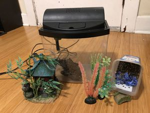 Fish aquarium with decorative house and plants for Sale in Seattle, WA