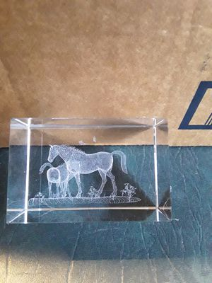 Horse crystal cube,,,3x2 for Sale in Linden, PA