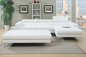 New Sectional White Leather with Large Ottoman. $900. Free Delivery Financing Available. for Sale in Los Angeles, CA