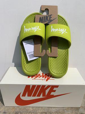 (SIZE 8) Nike x Stussy Benassi Slide Stussy Volt for Sale in Orange, CA