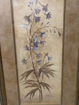 Home decor. Picture with blue flowers gold frame for Sale in Corona, CA