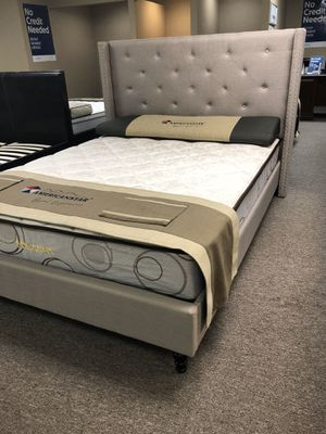 Full size light gray linen bed with mattress and free delivery for Sale in Irving, TX