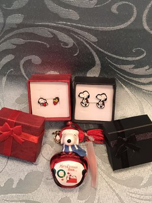 Snoopy Earrings & Bell Necklace - All for $10 for Sale in West Chicago, IL