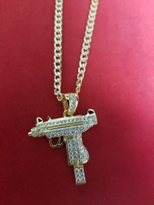 14k gold over 925 sterling silver made in Italy gun pendant with chain for Sale in Brooklyn, NY