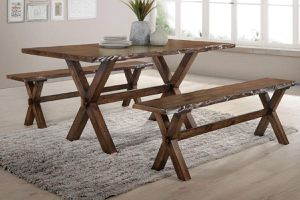 RUSTIC COUNTRY STYLE 3 PIECE BREAKFAST KITCHEN DINING TABLE SET BENCH for Sale in Orange, CA