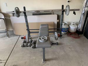 Workout bench and weights for Sale in Mountain SPRG, NV