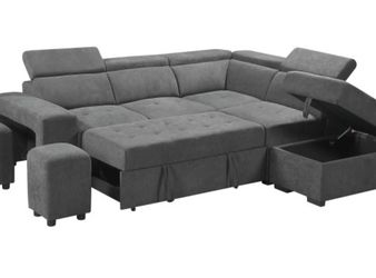 Henrikww Gray Sleeper Sectional Sofa With Storage Ottoman and 2 Stools, Light Gray for Sale in Alexandria,  VA