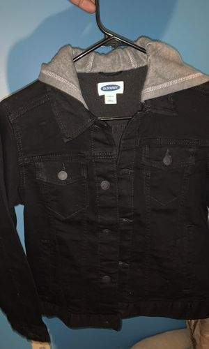 Kids old navy black jean jacket with built in grey hoodie for Sale in Washington, DC