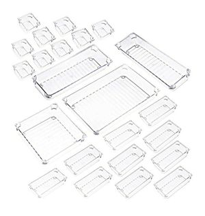 5-SIZE CLEAR PLASTIC DRAWER ORGANIZER CONTAINERS STORAGE FOR DESK TRAYS KITCHEN BATHROOM MAKEUP DIVIDERS FOR BEDROOM DRESSER (23 PACK) for Sale in Los Angeles, CA
