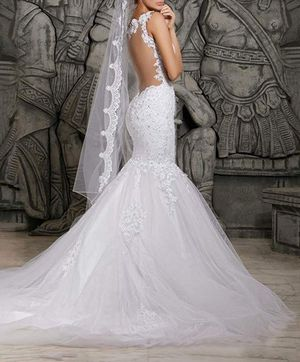 Ivory Mermaid Lace Applique Backless Wedding Dress for Sale in West Palm Beach, FL