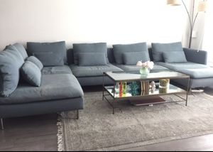 Mid century modern slipcover couch sectional and chaise with ottoman & 3 covers soderhamn for Sale in Carlsbad, CA