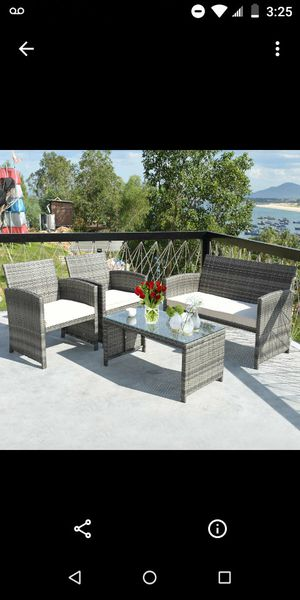 Gray outdoor patio furniture set up for Sale in Moreno Valley, CA
