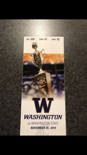 University of Washington vs. Washington State Apple Cup Ticket for Sale in Seattle, WA